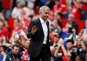 Manchester United manager Jose Mourinho acknowledges fans after the match.