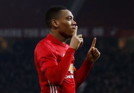 "Britain Football Soccer - Manchester United v West Ham United - EFL Cup Quarter Final - Old Trafford - 30/11/16 Manchester United's Anthony Martial celebrates scoring their second goal  Reuters / Phil Noble Livepic EDITORIAL USE ONLY. No use with unauthorized audio, video, data, fixture lists, club/league logos or ""live"" services. Online in-match use limited to 45 images, no video emulation. No use in betting, games or single club/league/player publications. Please contact your account representative for further details. - RTSU302"